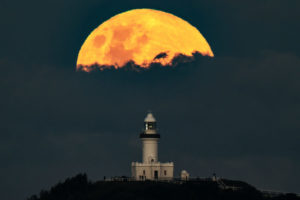 Moon-Cape Byron Cloudy Moonrise