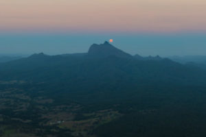 Moon-Mt Warning moonset from border Ranges