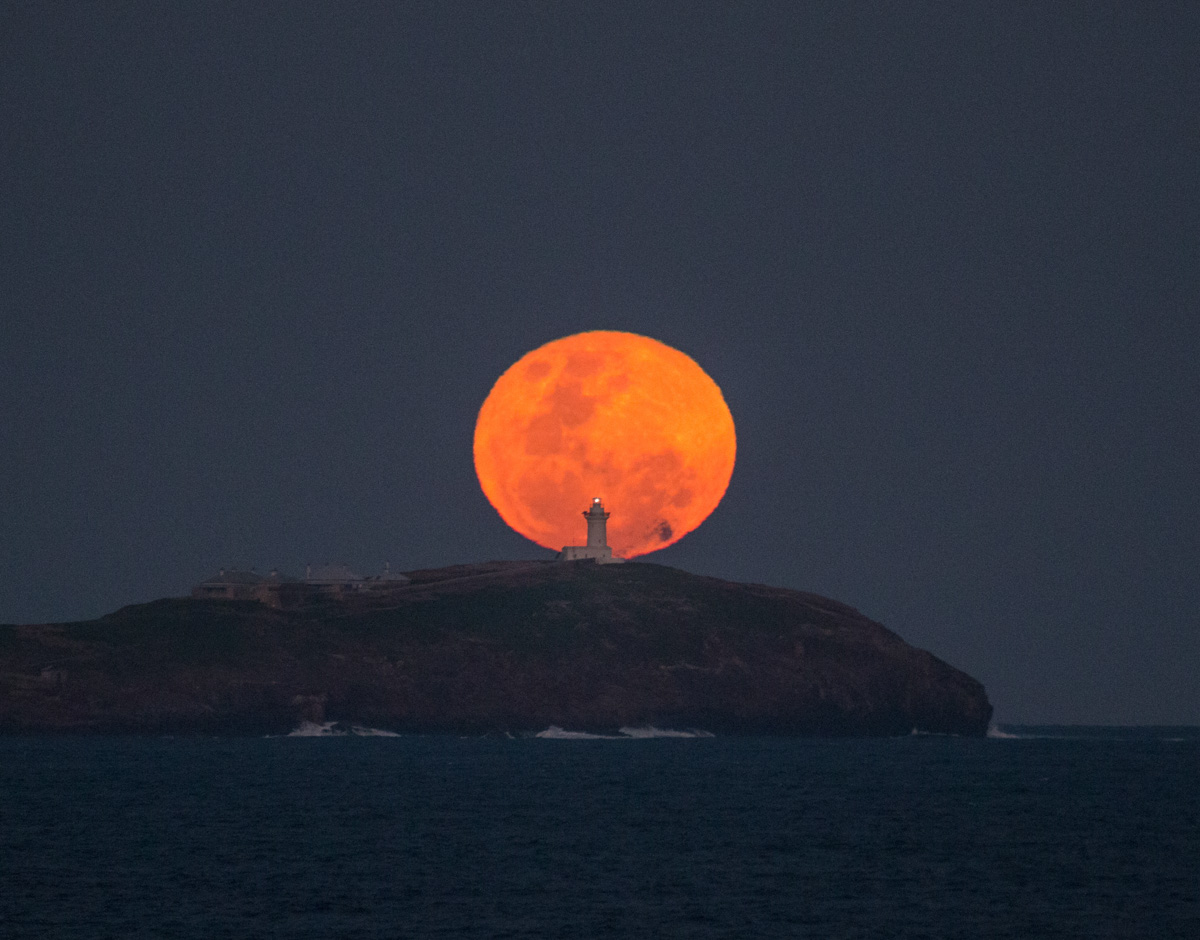 Moon-South Solitary Island Lighthouse